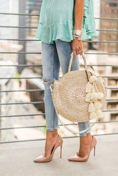 Für die Liebe von Fancy (Kate) in nacktem Patent So Kate - Mode Diy Diy Bags Purses, Diy Purse, Purses And Handbags, Crochet Handbags, Crochet Purses, Crochet Bags, Straw Handbags, Macrame Bag, Boho Bags
