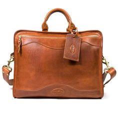 J. W. Hulme Co. Slim Portfolio Briefcase, Saddle Heritage Tan Leather