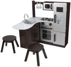 kidkraft espresso uptown play kitchen and laundry playset