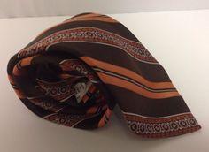 """Vintage Johnny Carson Tie Striped Stripes Brown Orange Polyester Wide 57"""" L #JohnnyCarson #NeckTie"""