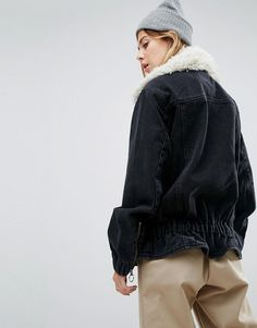 ASOS Denim Biker Jacket in Washed Black Denim With Faux Fur - Black