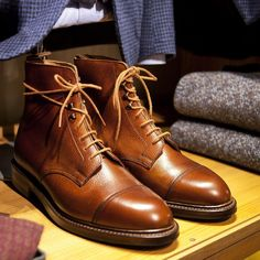 Crockett & Jones Coniston boots in tan Scotch grain