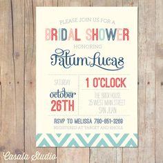 Chevron chic Bridal Shower Baby Shower invitación imprimible invitación o tarjeta impresa