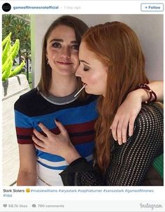 Game of Thrones stars Maisie Williams and Sophie Turner get cheeky in this Instagram snap