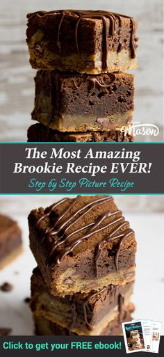 The most amazing Brookie recipe EVER! Easy to make, this delicious bars recipe will give you perfect brookies every time! Best Chocolate, Chocolate Recipes, Chocolate Treats, Fun Easy Recipes, Easy Desserts, Cookie Recipes, Dessert Recipes, Brookies Recipe, Ginger Molasses Cookies