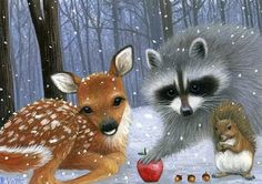 Raccoon Fawn Squirrel Winter Snow Apples Limited Edition ACEO Print Art | eBay