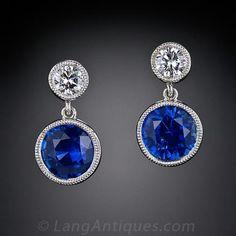 1.94 Sapphire and Diamond Drop Earrings