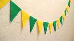 Green and Yellow Felt Pennant Banner Bunting by heartFeltbyA, $8.00