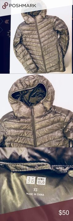 Hooded Ultra Light Down Puffer Silver Used only twice. Clean w no pulls rips stains or damage of any kind. LIKE NEW. No Pouch. Orig $80 Uniqlo Jackets & Coats Puffers