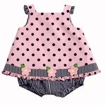 Florence Eiseman Baby Girls Pink / Navy Blue Dots Skirted Bubble