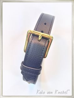 Black Nappa Leather Collar with solid Brass - Handcrafted by Koko von Knebel - Made with Love in Germany
