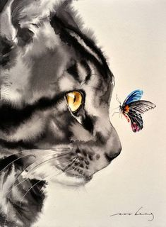 Close Encounter detailed, premium quality, magnet mounted prints on metal designed by talented artists. Watercolor Cat, Watercolor Animals, Watercolor Paintings, Painting Abstract, Acrylic Paintings, Watercolours, Animal Paintings, Animal Drawings, Drawings Of Cats