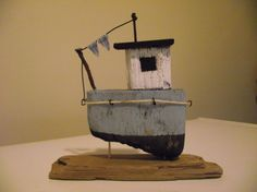 Handmade driftwood boat MPB1 by 50thParallel on Etsy