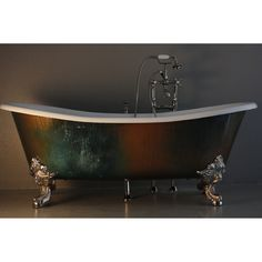 Add a unique touch to your bathroom decor with this 'The Lanercost' Cast Iron Bateau Bathtub. This tub features a metallic copper patinated and lacquered exterior, comes with a Victorian styled faucet and polished nickel brass fixtures. Claw Bathtub, Clawfoot Tub Bathroom, Master Bathroom, Bath Tube, Tubs For Sale, Outdoor Tub, Cast Iron Bathtub, Tub Faucet, Slipper