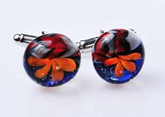 Items similar to Glass deep blue with orange flower cufflinks on Etsy Blue Space, White Ribbon, Orange Flowers, Deep Blue, Red And White, Bubbles, Cufflinks, Arts And Crafts, Create
