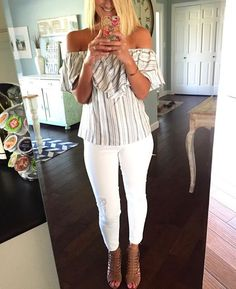 striped off the shoulder top with white distressed cropped jeans and leather wedges - love this outfit for all summer long!