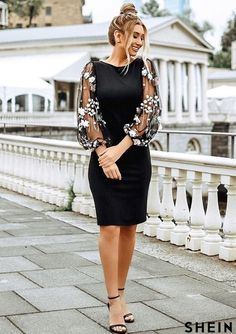 To find out about the Embroidered Applique Mesh Sleeve Self Tie Dress at - part of our latest Dresses ready to shop online today! Elegant Dresses Classy, Girls Casual Dresses, Lovely Dresses, Classy Dress, Stylish Dresses, Classy Outfits, Chic Outfits, Short Dresses, Fashion Dresses