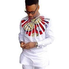 African Shirts For Men Dashiki Shirts Kitenge Shirt White-Men African Shirt-Online-8-S-Online Shopping-LeStyleParfait.Com