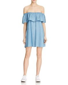 Minkpink Chambray Off-The-Shoulder Dress - 100% Bloomingdale's Exclusive
