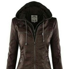 """NWOT Brown Faux Leather Coat New without tags, brown faux leather coat. When laying flat from top of shoulder to bottom of the jacket is 25"""" long, across chest from armpit to armpit is 20"""", sleeve length is 28"""". Tagged as XXL but clearly smaller. Sweatshirt hood is black and detachable. No rips, tears, or defects. Comes from a smoke free home. Jackets & Coats"""