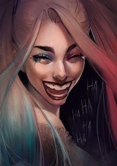 "jarleysource: ""Expression sketches : laugh - Harley Quinn by Ashline Illustrations "" Harley Quinn Drawing, Joker And Harley Quinn, Harley Batman, Margot Robbie, Dc Comics, Daddys Lil Monster, Gotham Girls, Dc Memes, The Villain"