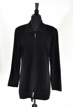 cdec089573 Exclusively Misook Black Acrylic Knit Women s Zip Jacket Size Medium   ExclusivelyMisook  BasicJacket  Casual
