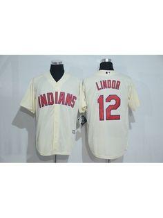 cf6ab15fce2 Men s Cleveland Indians 12 Francisco Lindor Cream Jersey