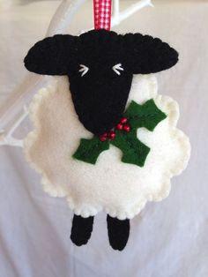 Decorazioni di Natale lana pecora Holly di MichelleGood su Etsy