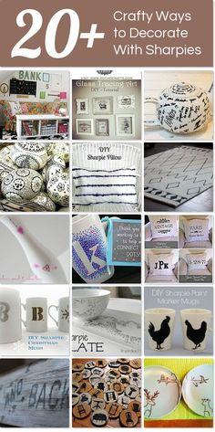 Tweak It Tuesday (Cozy Little House) Sharpie Projects, Sharpie Crafts, Sharpie Art, Diy Projects, Sharpie Paint Markers, Sharpies, Op Art, Tracing Art, Amigurumi