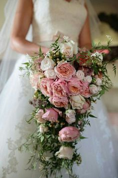 Lush Cascading Bridal Bouquet Showcasing: Pink English Garden Roses, Pastel Pink Roses, Pastel Pink Spray Roses, White Hypericum Berries + Several Varieties Of Greenery & Foliage