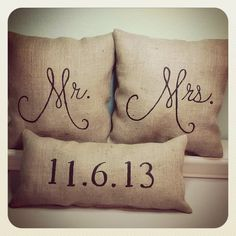 Mr. & Mrs. Burlap (Stuffed) Pillows with Date by 2CuteCrafts4U on Etsy https://www.etsy.com/listing/162343863/mr-mrs-burlap-stuffed-pillows-with-date