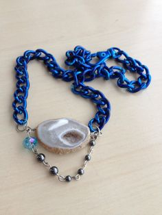 Lincoln Street found on #Sellergroup or Etsy listing at https://www.etsy.com/listing/176201221/pale-blue-agate-and-hematite-necklace