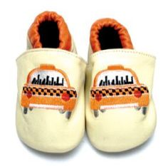 TAXI!  Hand crafted leather shoes with cushioned suede sole available in sizes newborn to 18 months.  $27 from www.mybabypeanut.com