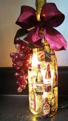 Lighted wine bottle with Bottles at etsy. com