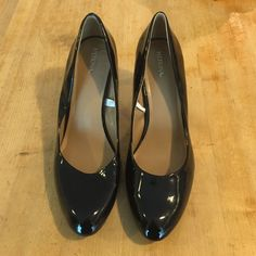 Merona Black Patent High Heels Size 11 These are classic black patent heels from Merona in size 11. They have only been worn indoors to try on! The heel is approx 3-3 1/2 in at a tad to talk to wear all day for work. No box. Merona Shoes Heels