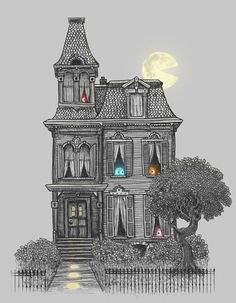 """May get this for Halloween decor.  """"Haunted by the 80's""""  #Pac-man ghosts in haunted house. $18.00"""