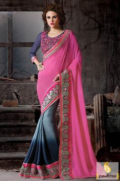 Get stunning look with blue pink and grey heavy designer party saree online with designer blouse. The fashionable beautiful saree design is attractive with multi threaded embroidery. Diwali Special Discount Offer:  5% OFF FOR Buy 1 Product 10% OFF FOR Buy 2 Product 15% OFF FOR Buy 3 Product or more #saree, #designersaree, #partywearsaree, #festivalsaree, #embroiderysaree, #designerpartysaree http://www.pavitraa.in/store/party-wear-saree/ callus: +91-7698234040