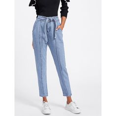 Tie Waist Seam Front Jeans ($15) ❤ liked on Polyvore featuring jeans, blue, blue denim jeans, denim jeans, white denim jeans, white jeans and embellished denim jeans