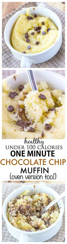Healthy One Minute Chocolate Chip Muffin Recipe- Just 1 minute until you have this fluffy, moist and delicious muffin which is less than 100 calories- An oven version too! {gluten free, paleo, vegan option} used almond flour, coconut sugar and rice milk No Calorie Snacks, Low Calorie Recipes, Low Carb Desserts, Healthy Desserts, Healthy Recipes, Low Calorie Mug Cake, 100 Calories, Paleo Dessert, Dessert Recipes