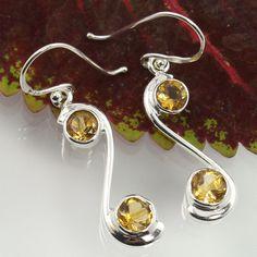 Charming Earrings 925 Solid Sterling Silver Natural CITRINE Faceted Gemstones #SunriseJewellers #DropDangle