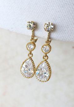 Ada - Clip-On Cubic Zirconia Teardrop Earrings, Gifts, Gold Bridesmaid Earrings, Bridal Jewelry, Champange gold Wedding Jewelry