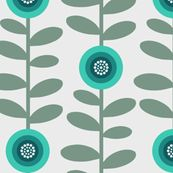 retro flowers 2 fabric by troismiettes for sale on Spoonflower - custom fabric, wallpaper and wall decals US$18/yard