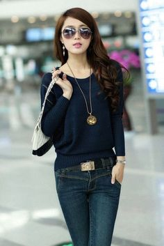 Sweaters Apparel 2016 Women Fashion Autumn Winter Oversized Casual Jumper Loose Pullover Kitted Batwing Top