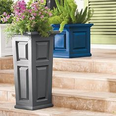 Fill outdoor planters with colorful blooms to transform your backyard or patio. Find large planters, urn planters, window boxes and more at Grandin Road. Tall Planters, Outdoor Planters, Planter Pots, Self Watering, Raised Panel, Flower Boxes, Container Plants, Hanging Baskets, Wood Shelves