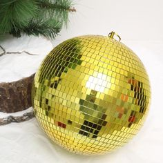 "20"" Gold Disco Mirror Ball - Large Disco Ball with Hanging Swivel Ring Led Fairy Lights, Disco Lights, Ball Lights, Party Lights, Light Decorations, Christmas Tree Decorations, Christmas Bulbs, Clear Glass Vases, Gold Glass"