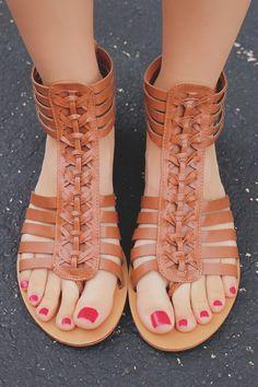 Whiskey Vegan Leather Strappy Flat Sandals