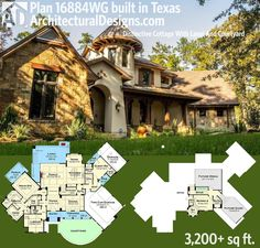 Architectural Designs House Plan 16884WG comes to life in Texas. More pictures online. 3 beds, 3.5 baths and over 3,200 sq. ft. of living. Ready when you are. Where do YOU want to build?