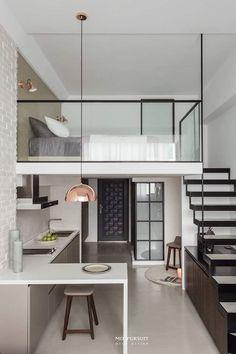 Loft House Design, Tiny House Loft, Small House Interior Design, Small Apartment Design, Modern Tiny House, Room Design Bedroom, Home Room Design, Small Loft Apartments, Cool Room Designs