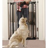 Extra-Tall Swing Closed Pet Gate in Black     Found it at Wayfair - Price: $83.95    Free Shipping!  Product Features  Features Options: Made In America, Swinging Door  Mounting Type: Pressure Mounting  Pet Category Options: Cats, Dogs  Placement Options: Indoor Living Areas, Stairs  Product Category: Pet Gates