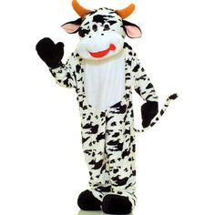 Cow Plush Economy Mascot Adult Costume ($130) ❤ liked on Polyvore featuring costumes, halloween costumes, horns costume, adult mascot costume, tail costume, white costume and adult costumes